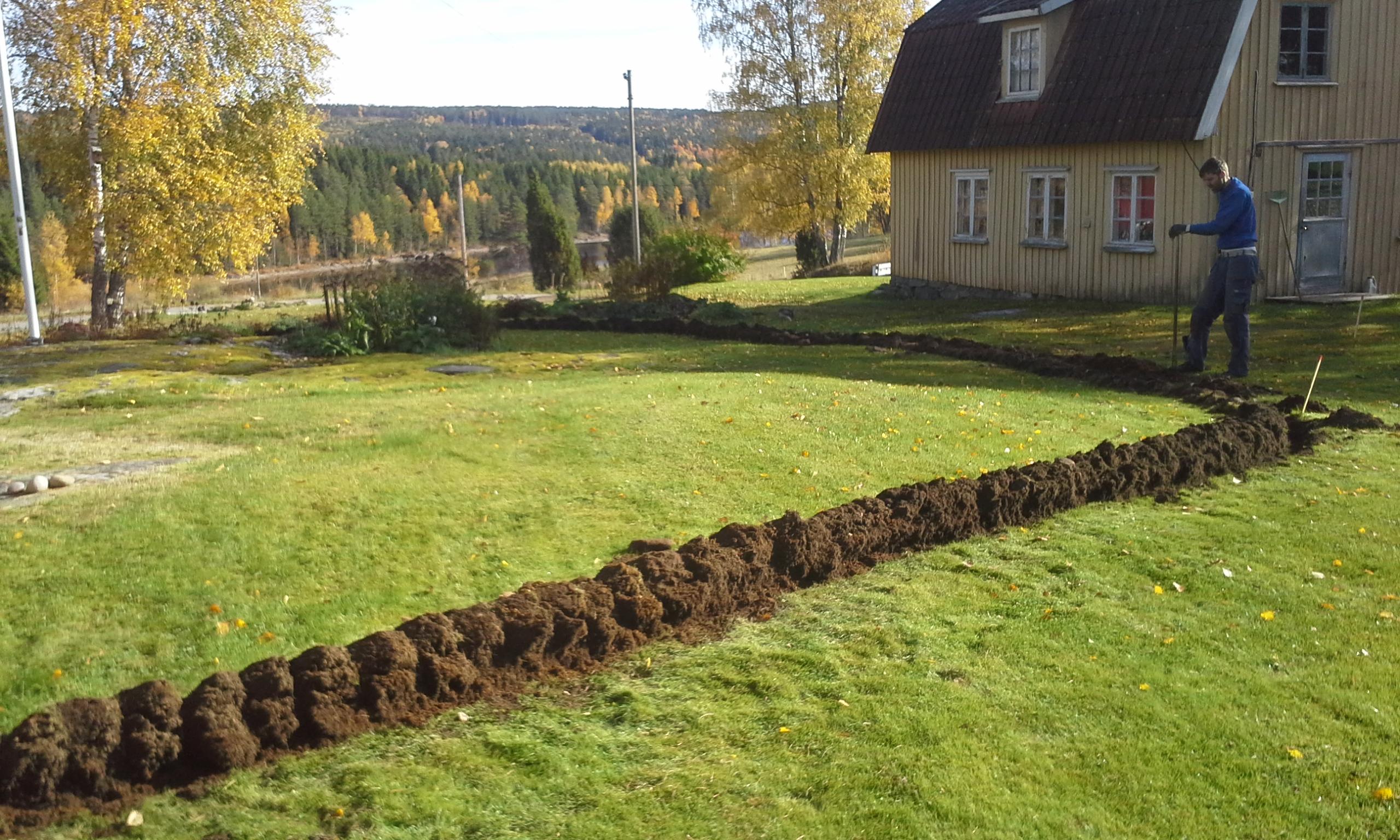 gräva fiber på tomten